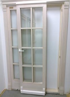 Дверь входная со стеклопакетом, раздвижная